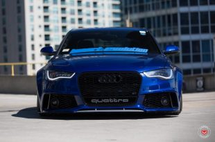 RS6 Optik Audi A6 Tuning Vossen VPS 318 5 310x205 RS6 Optik am blauen Audi A6 mit Vossen VPS 318 Felgen