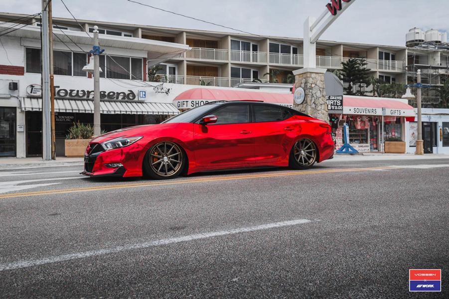 Tuning Nissan Maxima Vossen VWS 1 2017 3 Extrem anders   Roter Nissan Maxima auf Vossen VWS 1 Alu's