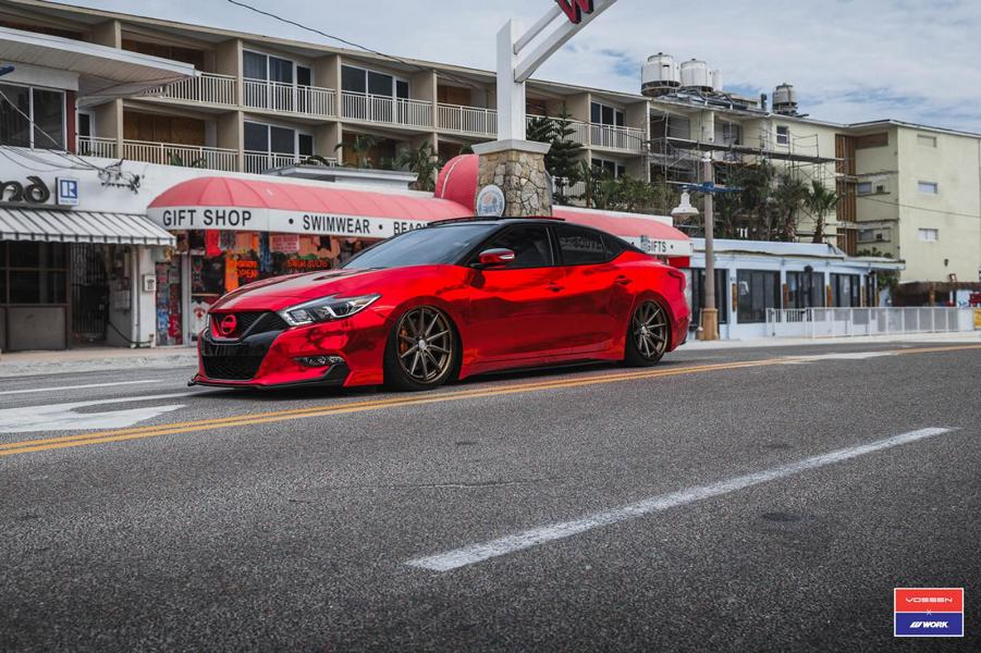 Extremely Different Red Nissan Maxima On Vossen Vws 1 Alu S