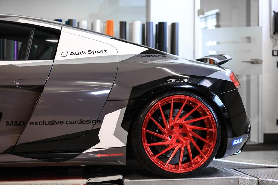 Audi R8 V10 Folierung LMS Tuning Rennen Forged 4 M&D exclusive cardesign   Audi R8 V10 im LMS Cup Style