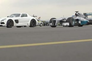 Dragrace Mercedes F1 W03 gegen SLS AMG Black Series 310x205 Video: Dragrace   Mercedes F1 W03 gegen SLS AMG Black Series