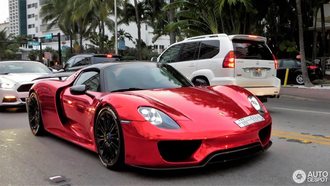 porsche spyder 918 foiling chrome red tuning 9