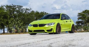BMW M3 F80 Lime Green Chrom Folierung Velos S15 Tuning 14 310x165 VELOS VLS 01 Felgen am Austin Yellow lackierten BMW M3