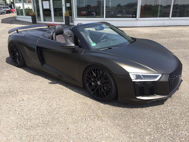 audi r8 4s spyder folierung schwarz matt goldstaub 7 magazin. Black Bedroom Furniture Sets. Home Design Ideas