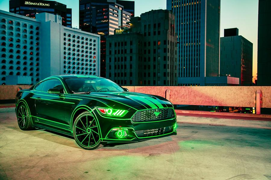 Ford Mustang E Tron foiling green tuning 2017 10 decorative stripes on the car: a new look in no time
