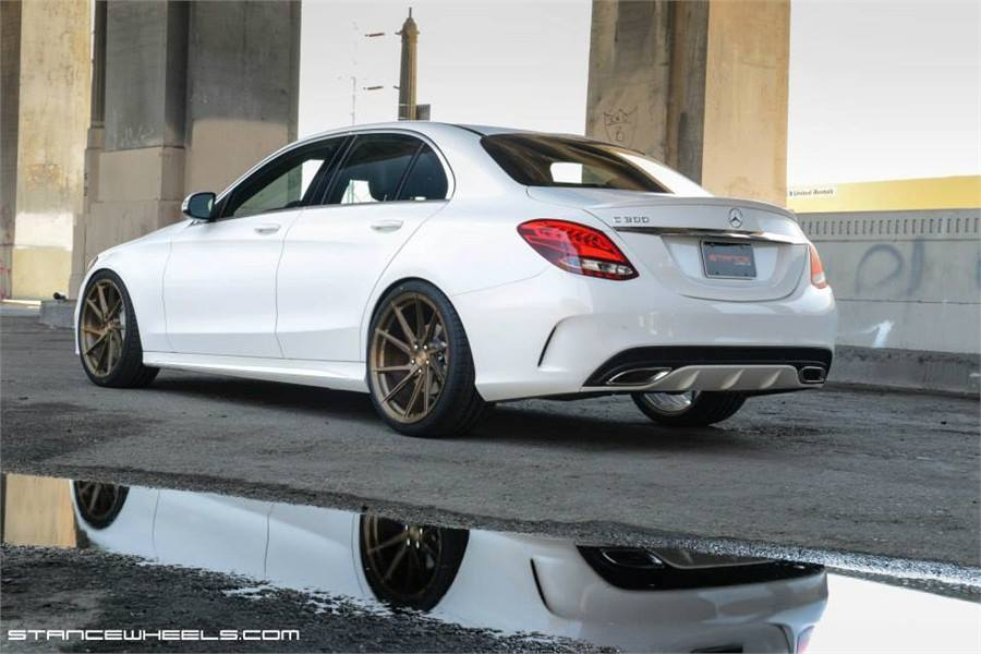 Mercedes c300 c class on stance sf01 rims in bronze for Mercedes benz c300 rims