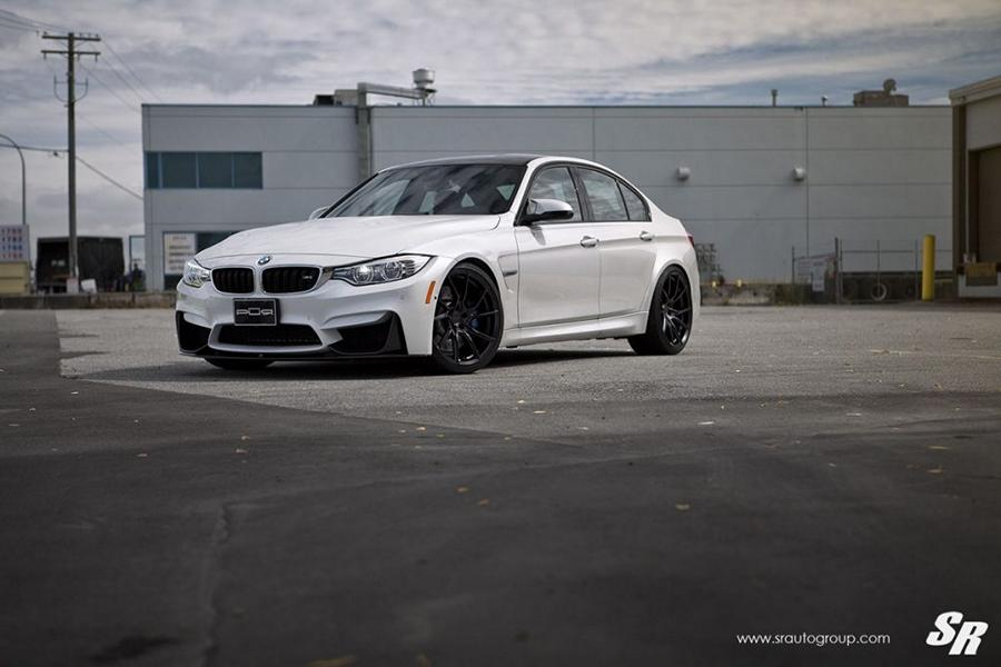 BMW F80 M3 Limo PUR Wheels FL26 Tuning Carbon 4 Weiße BMW F80 M3 Limo auf PUR Wheels FL26 Felgen