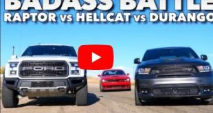 Dodge Challenger Hellcat vs Ford Raptor Durango SRT 310x165 Video: Dodge Challenger Hellcat vs Ford Raptor & Durango SRT