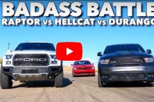 Dodge Challenger Hellcat vs Ford Raptor Durango SRT 310x205 Video: Dodge Challenger Hellcat vs Ford Raptor & Durango SRT