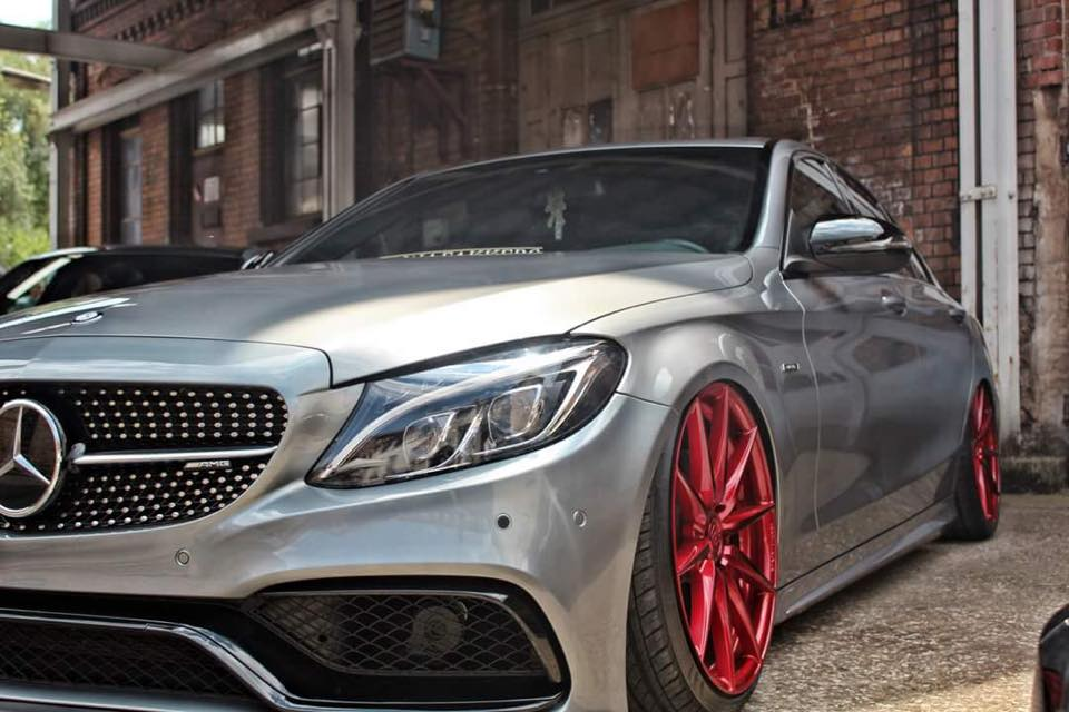 perfect mercedes c45 amg on rohana rf1 rims in red magazine. Black Bedroom Furniture Sets. Home Design Ideas