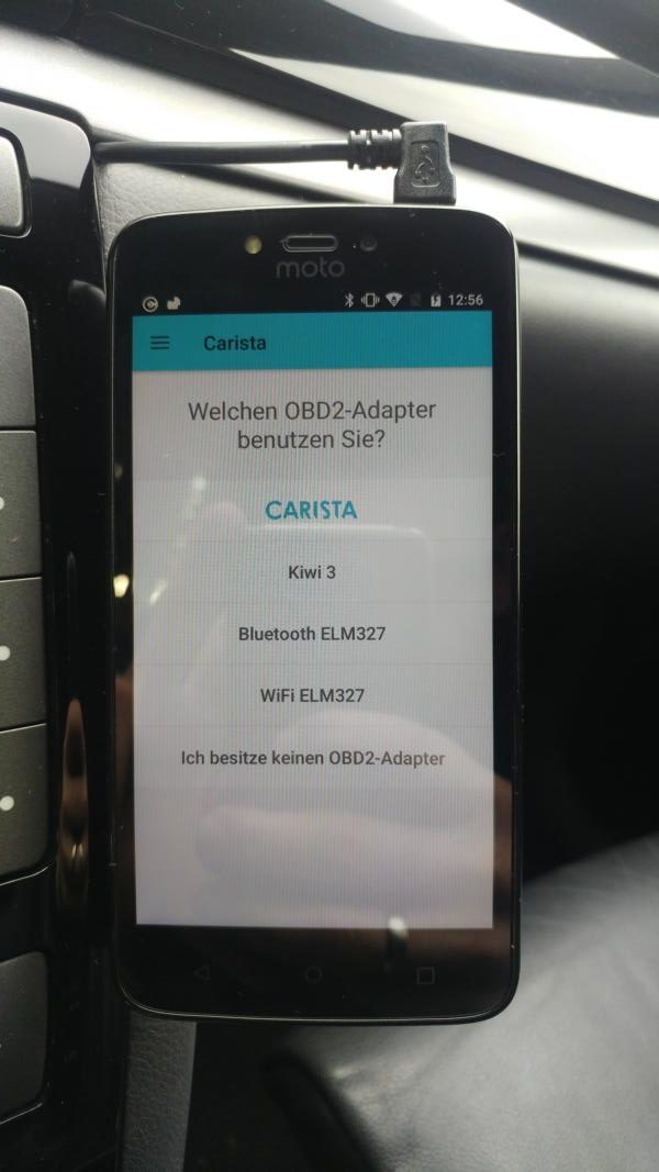 In the test - that can be the Carista Bluetooth OBD2 adapter