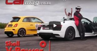 Dragrace Abarth 595 R8 V10 Spyder 310x165 Video: Dragrace   Abarth 595 gegen Audi R8 V10 Spyder