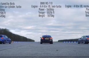 BMW dragrace E92 M3 F10 M5 M135i 310x205 Video: BMW Dragrace   E92 M3 vs. F10 M5 & Tuning M135i