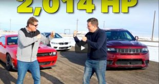 BMW M5 Jeep Cherokee Trackhawk Dodge Challenger Hellcat 310x165 Video: APR Audi RS3 vs. Dodge Challenger SRT Demon