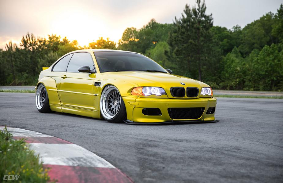 Widebody BMW E46 M3 CCW Wheels Phoenixgelb 12 Heftig   Widebody BMW E46 M3 auf CCW Wheels in Phoenixgelb