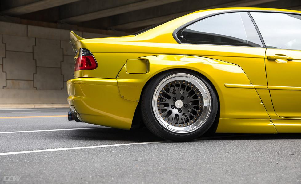 Widebody BMW E46 M3 CCW Wheels Phoenixgelb 26 Heftig   Widebody BMW E46 M3 auf CCW Wheels in Phoenixgelb