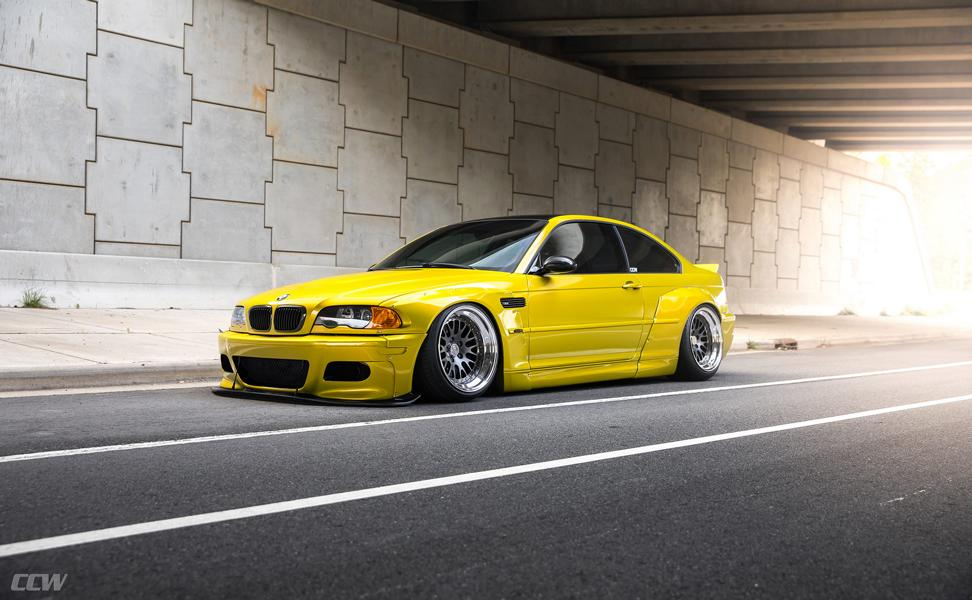 Widebody BMW E46 M3 CCW Wheels Phoenixgelb 28 Heftig   Widebody BMW E46 M3 auf CCW Wheels in Phoenixgelb
