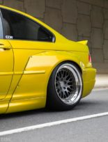 Widebody BMW E46 M3 CCW Wheels Phoenixgelb 8 155x204 Heftig   Widebody BMW E46 M3 auf CCW Wheels in Phoenixgelb