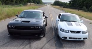 Ford Mustang SVT Cobra vs. Dodge Challenger Hellcat dragrace 2 310x165 Video: Dyno am Limit   3.500 PS Nissan GT R von ETS