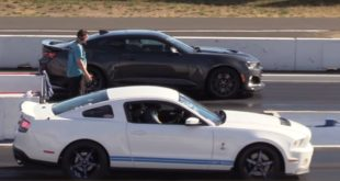 Ford Mustang Shelby GT500 vs. Chevrolet Camaro ZL1 1 310x165 Video: Ford Mustang SVT Cobra vs. Dodge Challenger Hellcat