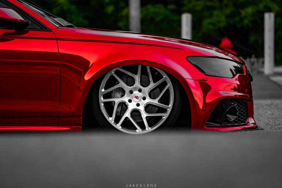 Vossen Avery Red Chrom Audi A6 C7 Airride Tuning 2 Vossen Alus am Avery Red folierten Audi A6 mit Airride