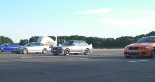 4 Generationen BMW M3 Dragrace 310x165 Video: 1.300 PS Audi S4 B5 gegen 1.500 PS Bugatti Chiron