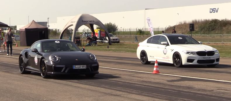 750 PS BMW M5 F90 Vs. 911 Drag X: 991 PS BMW M750 F5 Vs. بورش 90 Turbo S (911)