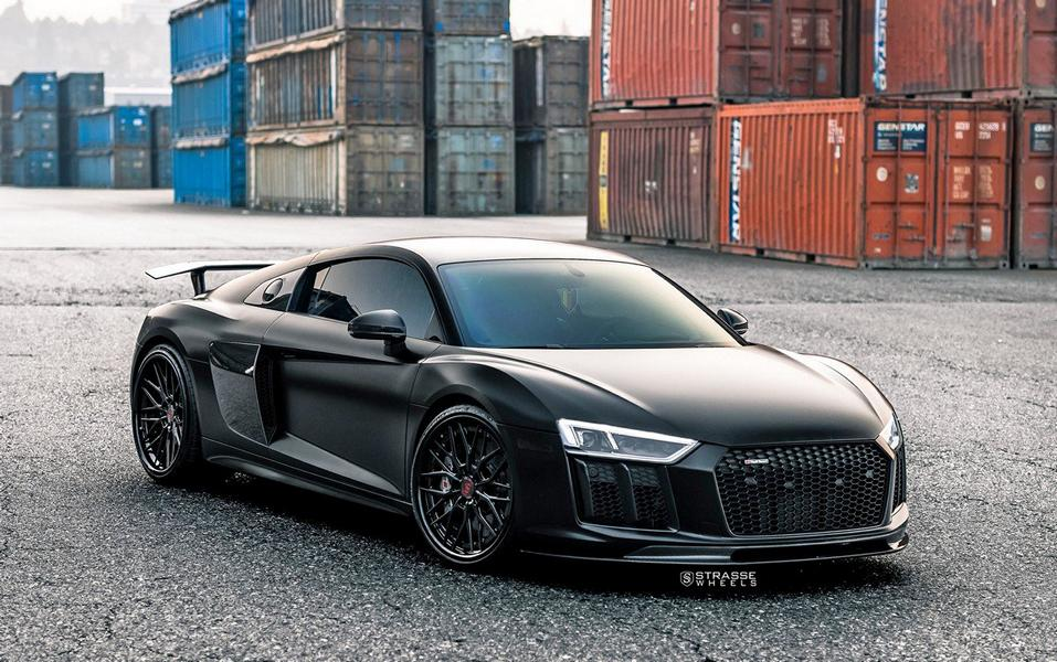 Matt Black Road Sv10m Alus On Audi R8 V10 Plus Tuningblog Eu