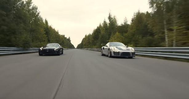 Porsche 911 GT2 RS dragrace Mercedes AMG GT R Tuning4 Video: Porsche 911 GT2 RS vs. 650 PS Mercedes AMG GT R