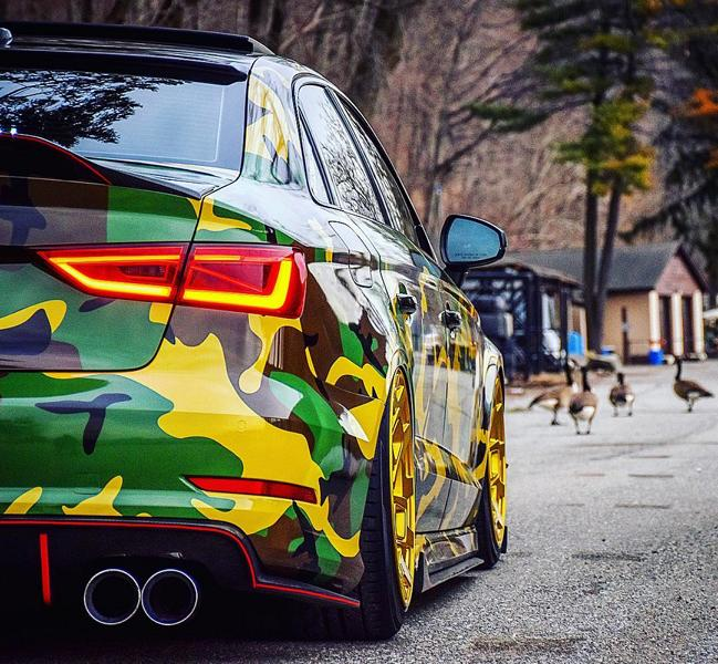 audi s3 sedan with camo wrap and radi8 wheels looks ready for fishing 1 Car Wrapping   die gleichwertige Alternative zur Lackierung