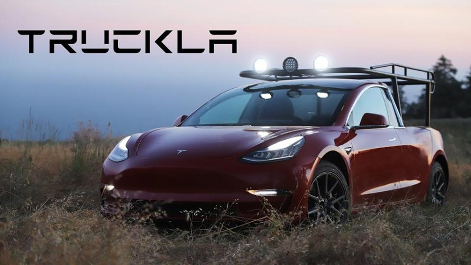 Tesla Model 3 Truckla E Pickup Tuning 11 Video: Selfmade   Tesla Model 3 Truckla E Pickup
