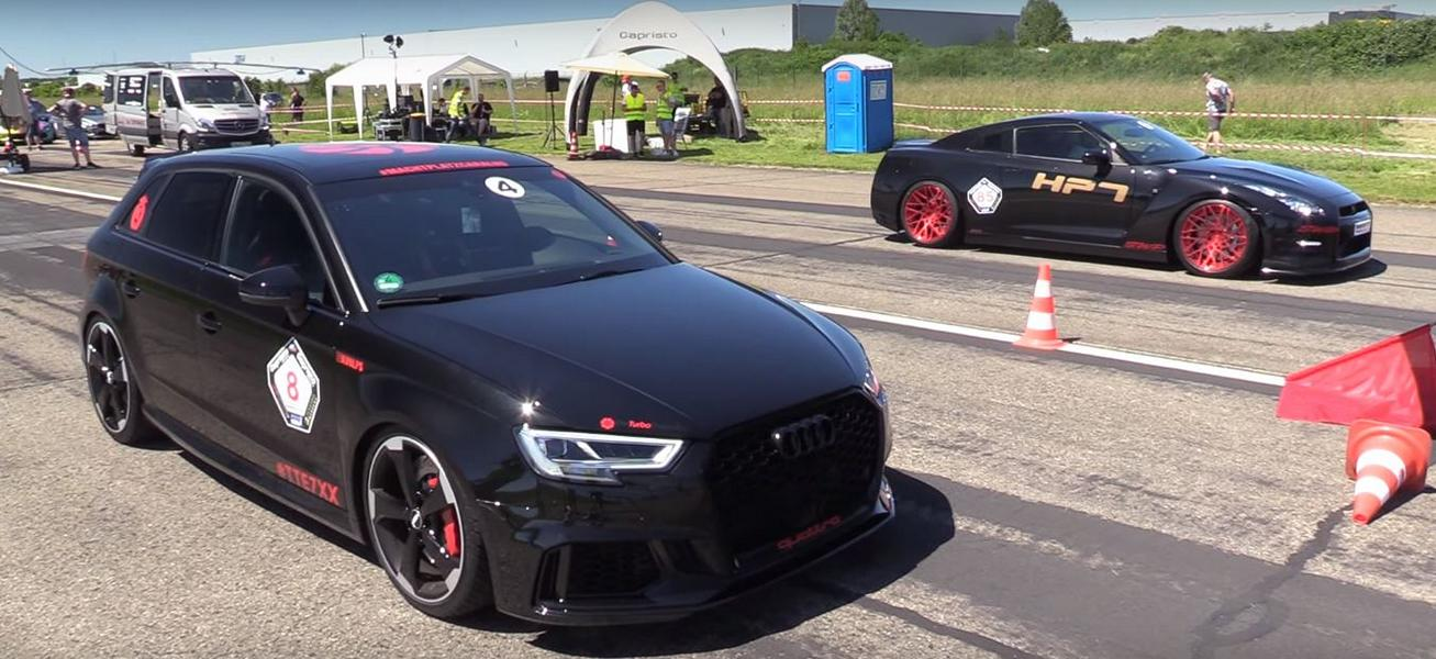 Audi RS3 Sportback vs. 720 PS Nissan GT R Video: 680 PS Audi RS3 Sportback vs. 720 PS Nissan GT R