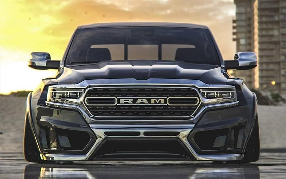 2019 ram 1500 makes a cool low riding abomination rendering 2 Rendering: 2019 Ram 1500 Widebody Pickup mit Airride