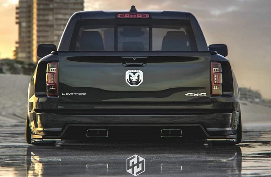 2019 ram 1500 makes a cool low riding abomination rendering 3 Rendering: 2019 Dodge Ram 1500 Widebody Pickup mit Airride