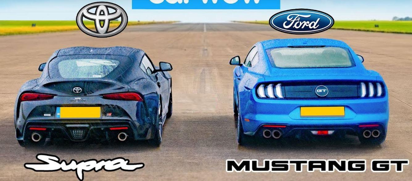 Litchfield Toyota Supra Ford Mustang Dragrace Video: Litchfield Toyota Supra (A90) vs. Ford Mustang GT