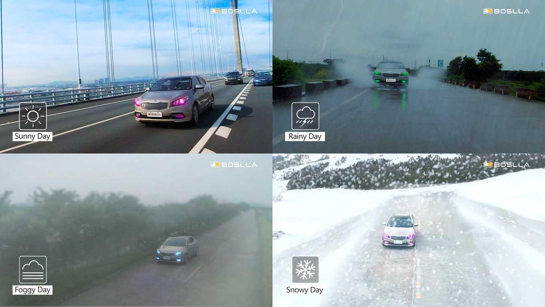 Boslla RGB in different weathers Boslla RGB: die hellste LED Glühbirne für Autos auf Kickstarter