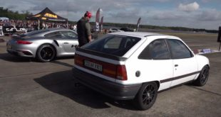 Drag Race Porsche 911 Turbo vs. Opel Kadett 310x165 Video: 1200 HP AMS 12 Nissan GT R vs. Bugatti Veyron Vitesse
