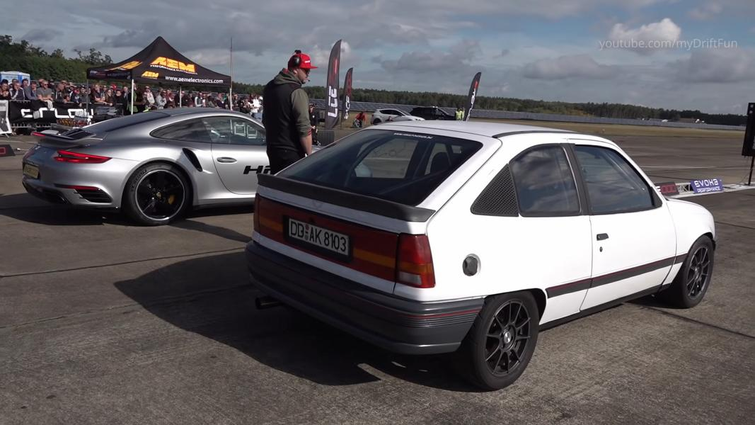 Drag Race Porsche 911 Turbo vs. Opel Kadett Video: Drag Race   Porsche 911 Turbo vs. Opel Kadett