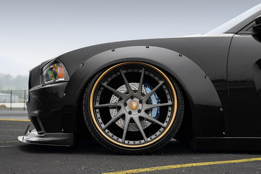 Dodge Charger Widebody F421 AG Wheels Tuning Rotora 5 Pechschwarz   Dodge Charger Widebody auf F421 Alus!