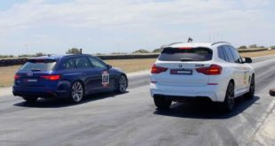Drag Race Audi RS4 Avant vs. BMW X3 M Competition 310x165 Video: 1200 HP AMS 12 Nissan GT R vs. Bugatti Veyron Vitesse