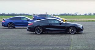 BMW M8 Audi R8 Mercedes AMG GT 4dr Porsche 911 Tesla Model X 310x165 Video: Drag race BMW M8, Audi R8, Mercedes AMG GT 4dr, Porsche 911, Tesla Model X