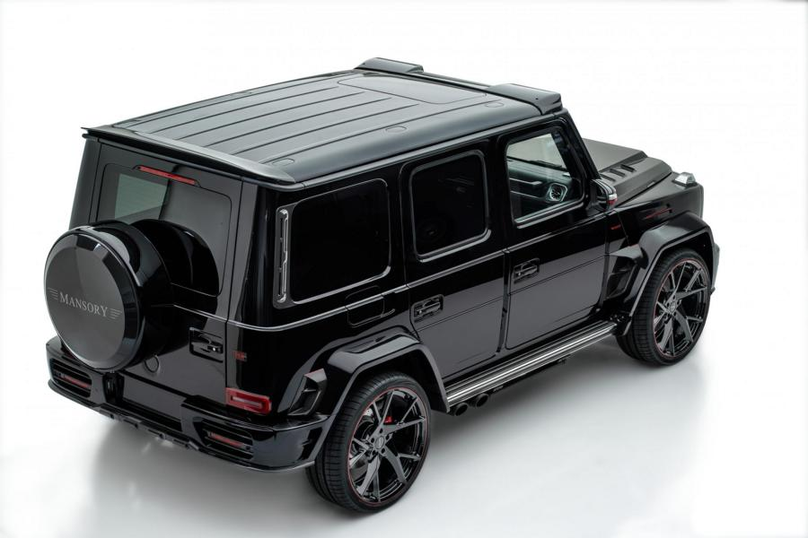 2019 Mercedes Benz G500 AMG G63 W463A Mansory Widebody Tuning 6 Detailarbeit beim Tuning   die Side Roof Cover am Auto!
