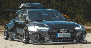 Widebody Audi RS6 C8 2020 Tuning Dachbox bagged Header 310x165 650 PS VW T1 Bulli mit W12 Triebwerk und Widebody Kit!