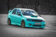 Logan Dacia Widebody Work Wheels Tuning 16 190x127 Grünstich   Dacia Logan mit Widebody und irrer Folierung!