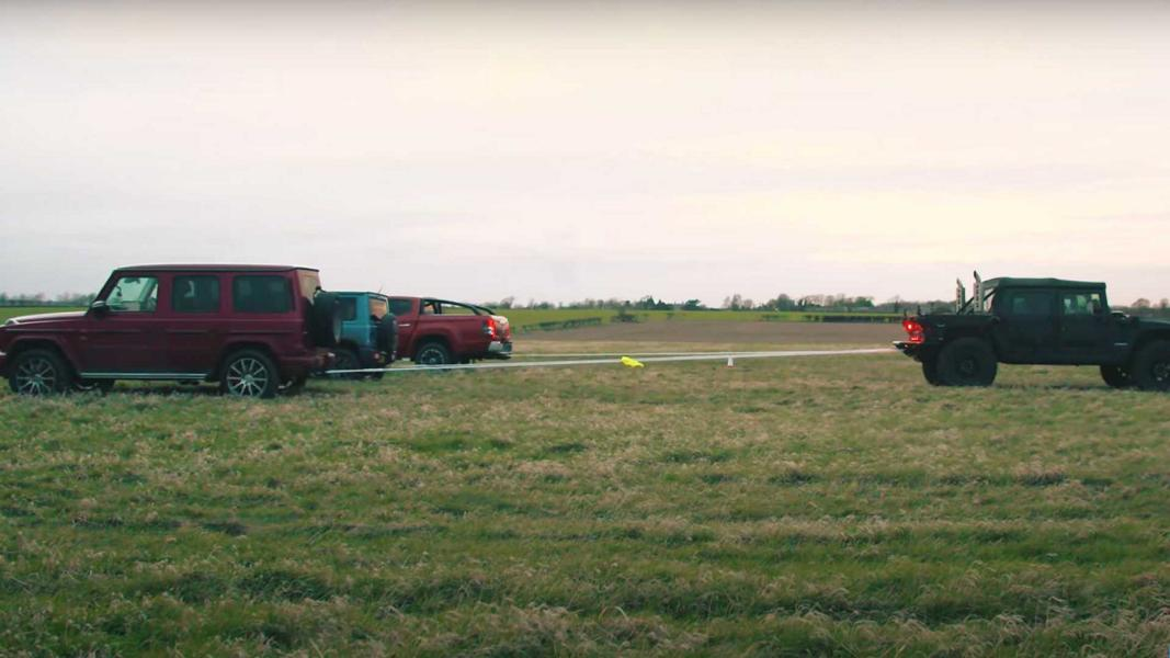 Tug Of War Hummer H1 vs. G63 Jimny L200 Video: Tug Of War   Hummer H1 vs. G63, Jimny & L200