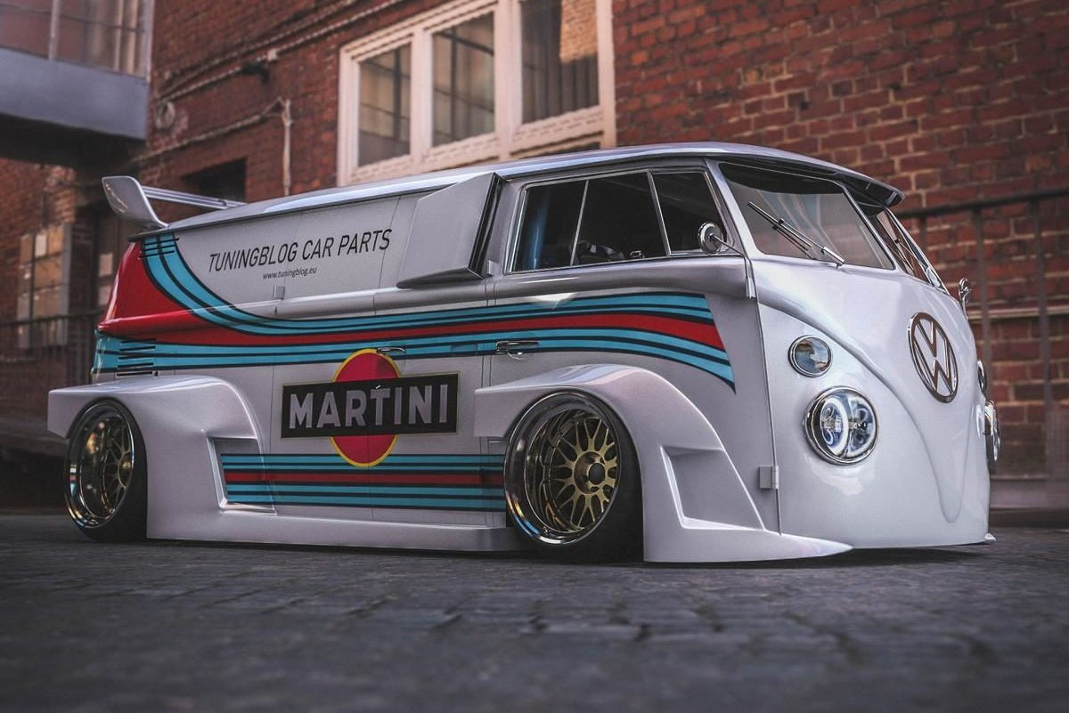 VW T1 Bulli W12 Tuning Martini Widebody Kit 4 1 e1589195040327 650 PS VW T1 Bulli mit W12 Triebwerk und Widebody Kit!
