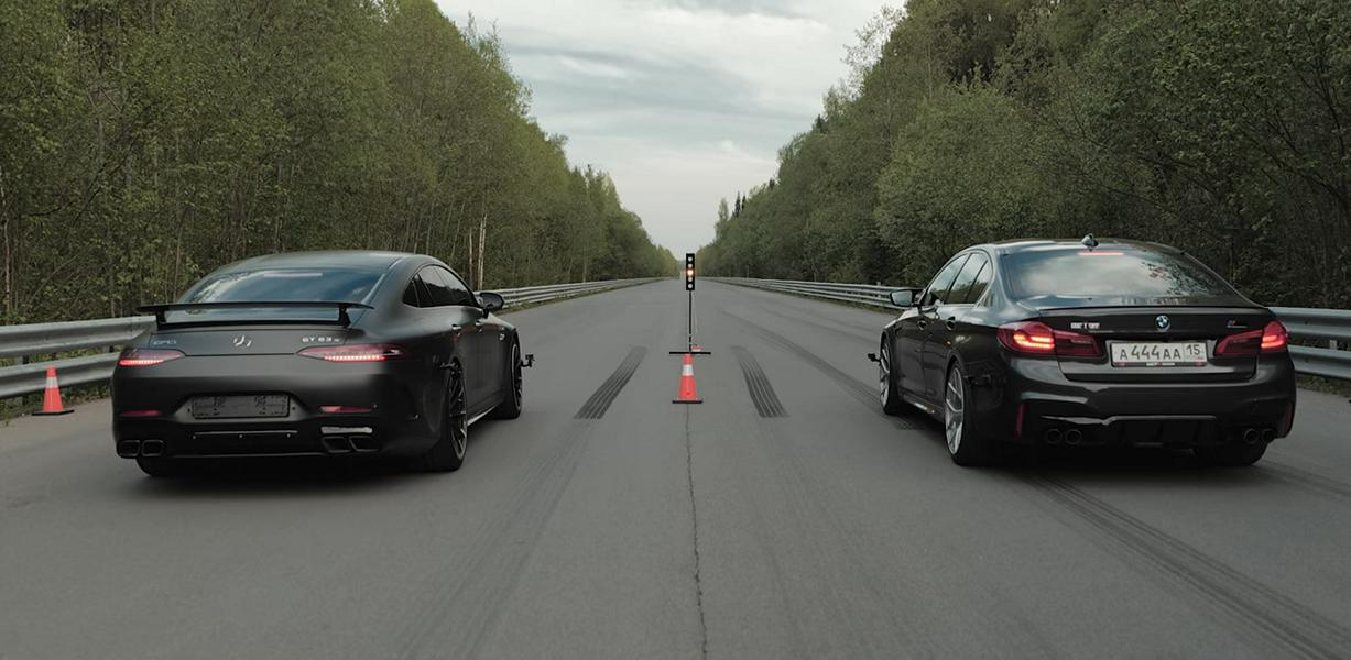 950 PS Mercedes AMG GT63 vs. 850 PS BMW M5 Drag race 1 Video: 950 PS Mercedes AMG GT63 vs. 850 PS BMW M5!