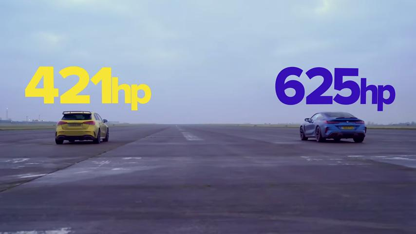 Drag race Mercedes AMG A45 S vs. BMW M8 Competition Video: Drag race   Mercedes AMG A45 S vs. BMW M8 Competition
