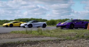 Ferrari 488 Pista vs. Lamborghini Aventador SV vs. McLaren 720S 310x165 Video: Ford Mustang Shelby GT500 vs. Tuning Corvette