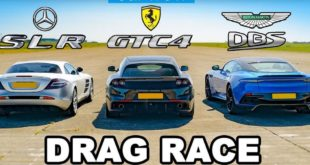 Drag race Ferrari GTC4 vs. Mercedes SLR McLaren vs Aston DBS 310x165 Video: 720 HP Ferrari 488 Pista vs. 800 HP BMW M5 F90!